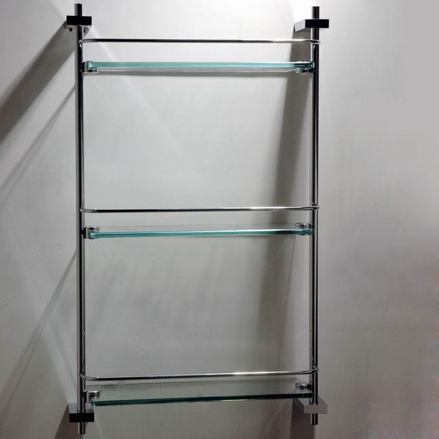 Square stainless steel bathroom corner shelf with brass base corner shelf shower shelf buy for Stainless steel bathroom shower shelves