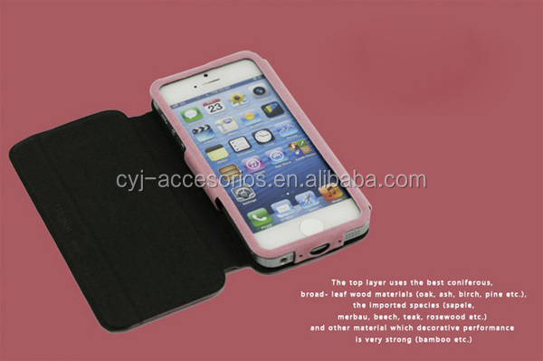 2014 High quality two mobile phones leather case for iphone 5