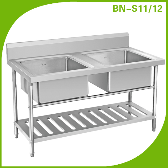 Stainless Steel Outdoor Sink Table/Double sink bench with under shelf ...