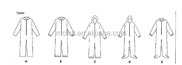 Hot!disposable waterproof Safety PP nonwoven coverall/workwear/worksuit/protective clothes