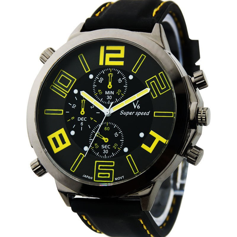 whole yellow big dail vogue v6 silicone band marks clock steel getsubject aeproduct