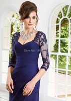 высокое качество Милая Плиссированные видеть через рукава Голубой шифон vestido де Феста Лонго мать невесты платья для свадьбы