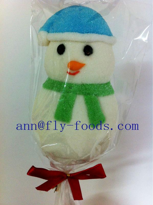 Christmas Decoration Snowman Shape Halal Marshmallow Lollipop