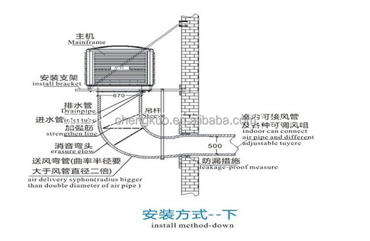 2014 plastic wall mounted evaporative split air
