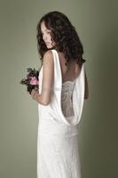 сексуальная этаж Длина спинки v-образным вырезом шифон кружева v-образным вырезом пляж Свадебные платья