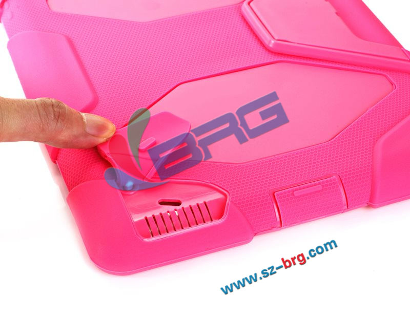 BRG-Two color combo case silicone and PC for ipad 2/3/4,waterproof PC case for iPad 2/3/4