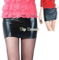 осень зима Европа и Америка стиль женщин кожа высокой талии юбки, был тонкий пакет хип короткие кожаные юбки ~ 1 19071