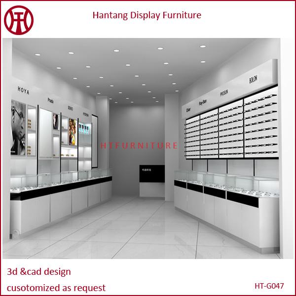 Wooden optical shop interior design for garment clothes for Optical store designs interior