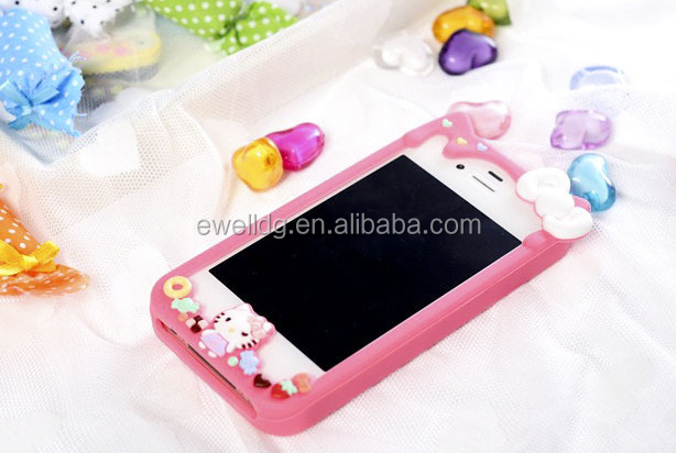 New Arrival New Fashion Hello Kitty Silicone Bumper Case for Iphone 4s/5s
