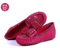 женщин для мягкой вождения скольжения мокасины леди плоские туфли кожа вождения обувь лодке серпантином лук