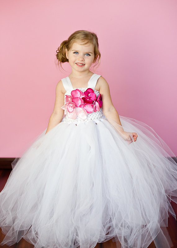 Белая принцесса цветок девушка дети день рождения танца свадьба вечер конкурс элегантный концерт тюля пачки девушка платье нестандартного размера