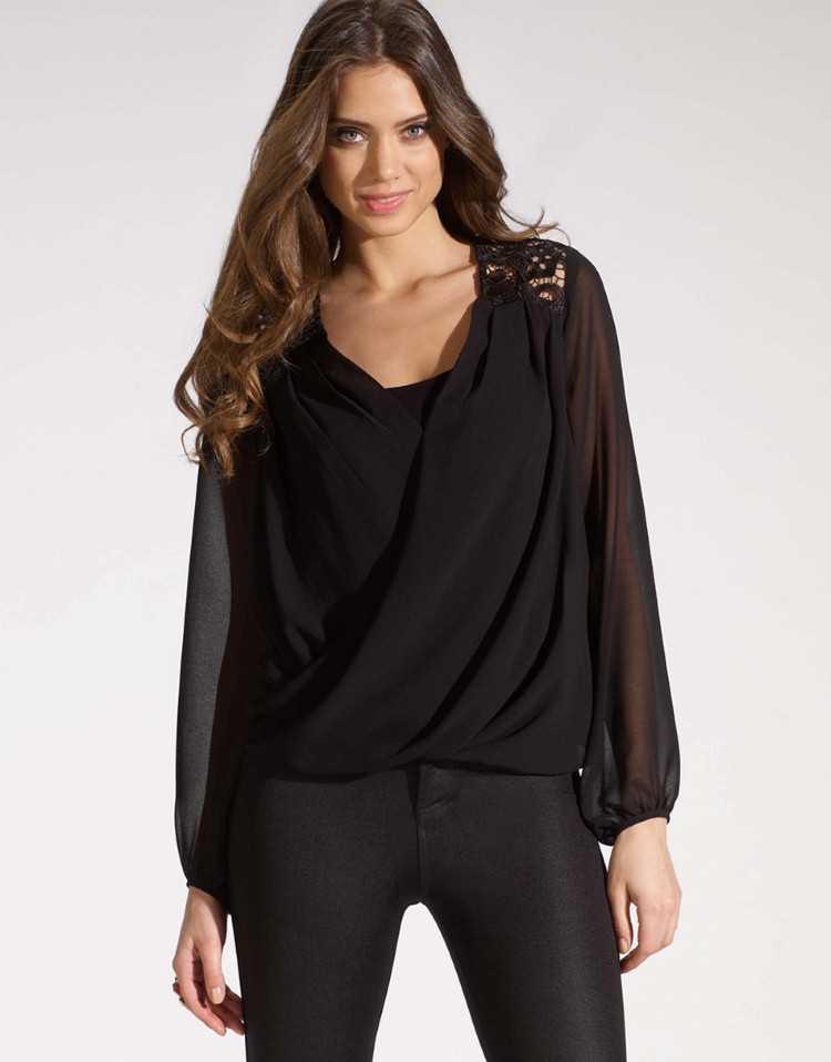 Long Sleeve Drape Front Blouse/designer blouse 2014/womens ...