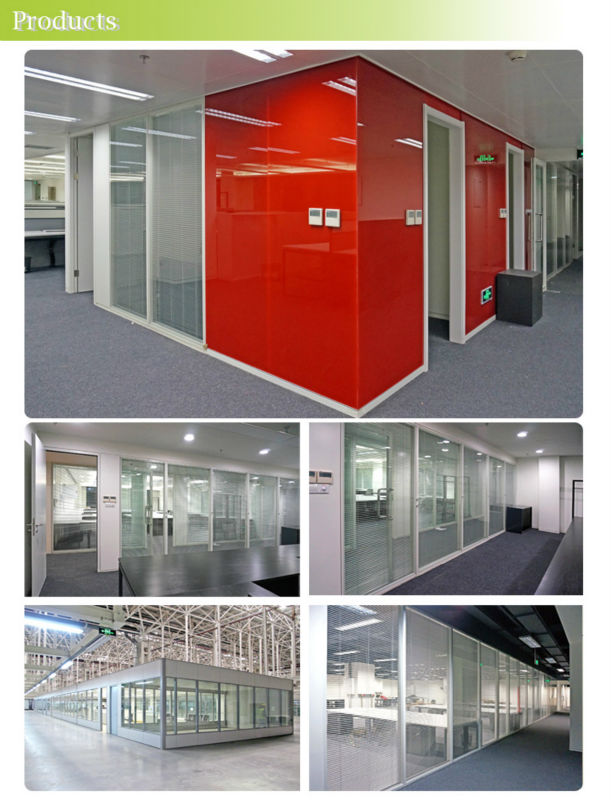Simplified Installation Modular Steel Panel Glass Frame Office Partition
