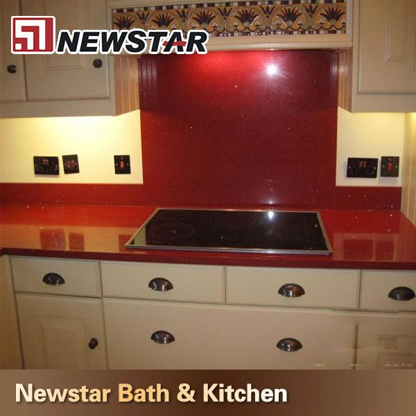 Red Quartz Kitchen Countertop: Red Color Quartz Countertop Polish