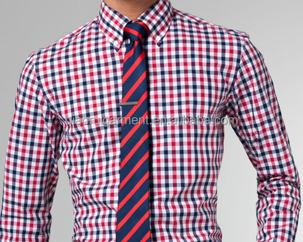 Wholesale men 39 s spring high quality red and blue gingham for Mens blue gingham shirt