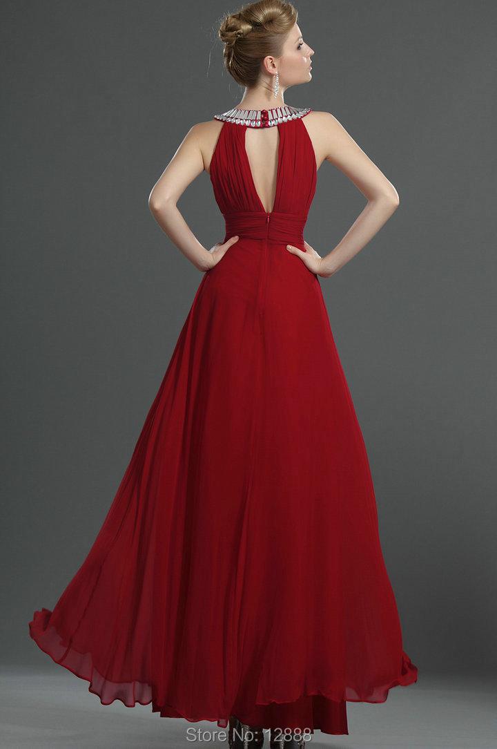 Dark Red Chiffon Halter New long Dress For Party Designer Dress For Women Floor Length 2014