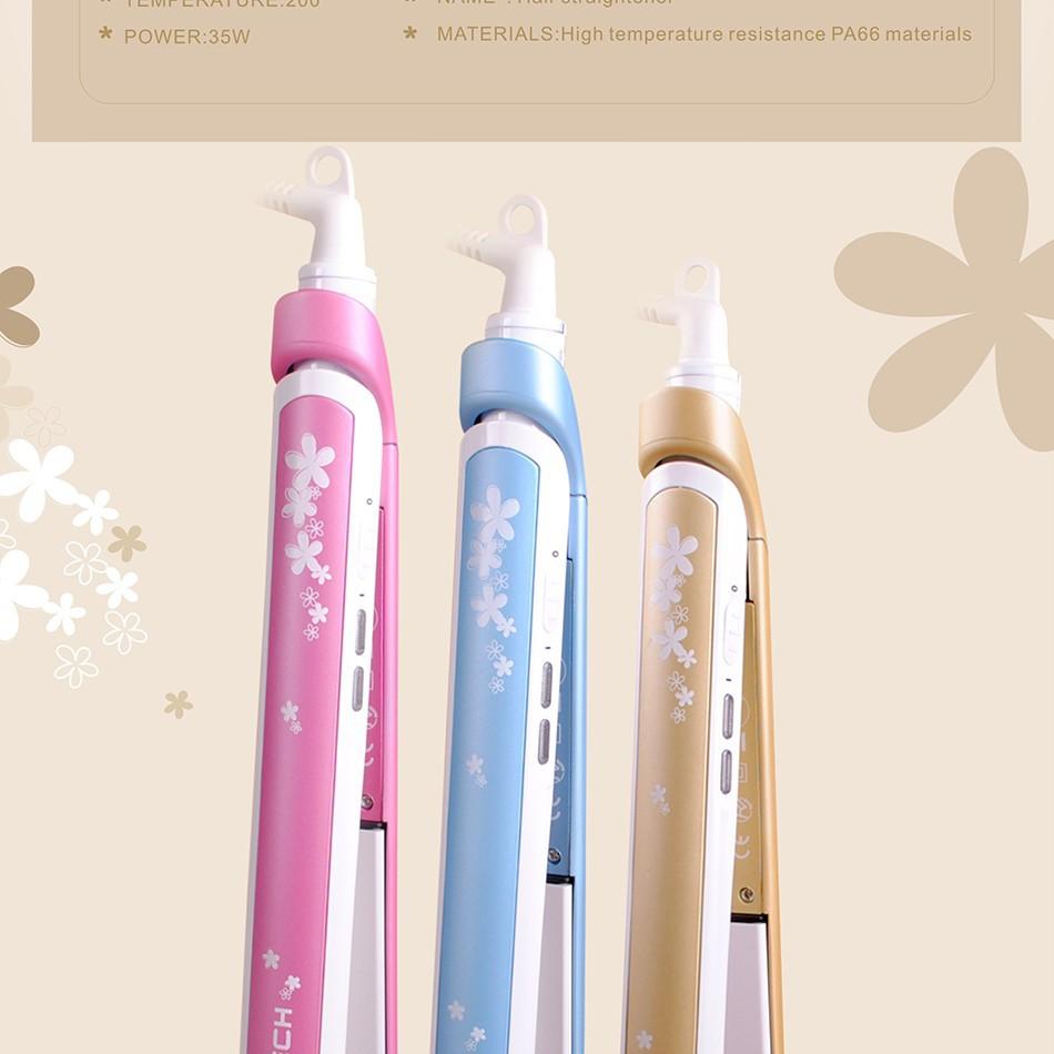 бренд pritech дизайн моды повезло голубой цветок выпрямление утюги керамический Выпрямитель для волос Уход Инструменты подарок
