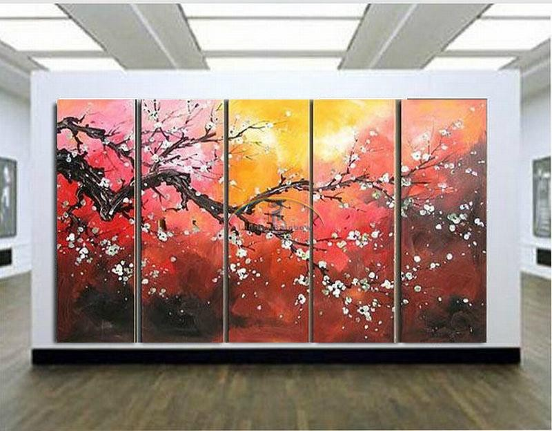 Buy 2016 Home Decor Hot Sale Rushed Large Blossom Oil Painting Wall Art Hand-painted Modern On Canvas Palette Knife free shipping cheap
