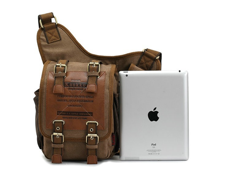 Top Quality Vintage Khaki Cotton Canvas Men Messenger Bag Travel Bags