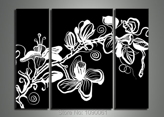 Hand Painted Black White Black And White Flowers Painting