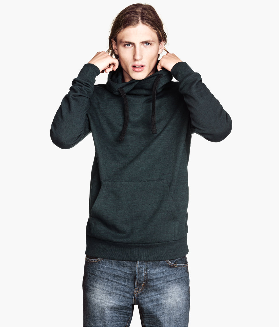 High Chimney Collar Sweatshirt With Pocket For Men Buy