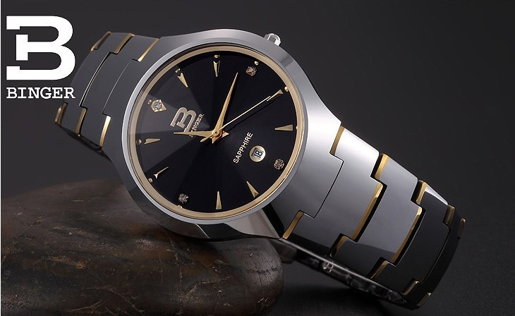 Бренд Бингер Кварц женщины Часы Мода Черный Вольфрама Сталь Спорт Аналоговый Наручные Часы Качество Часы Черные Часы Дизайнерские Часы