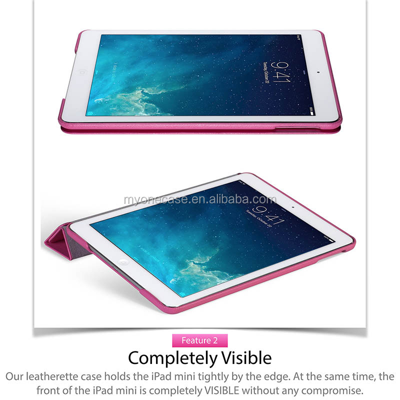rotating stand built-in magnet slim fit case for iPad mini retina