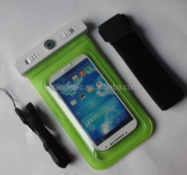 Wholesale Smartphone Waterproof Bag with Compass Armband Soft PVC Waterproof Case Cover for iPhone, for Samsung Double Lock