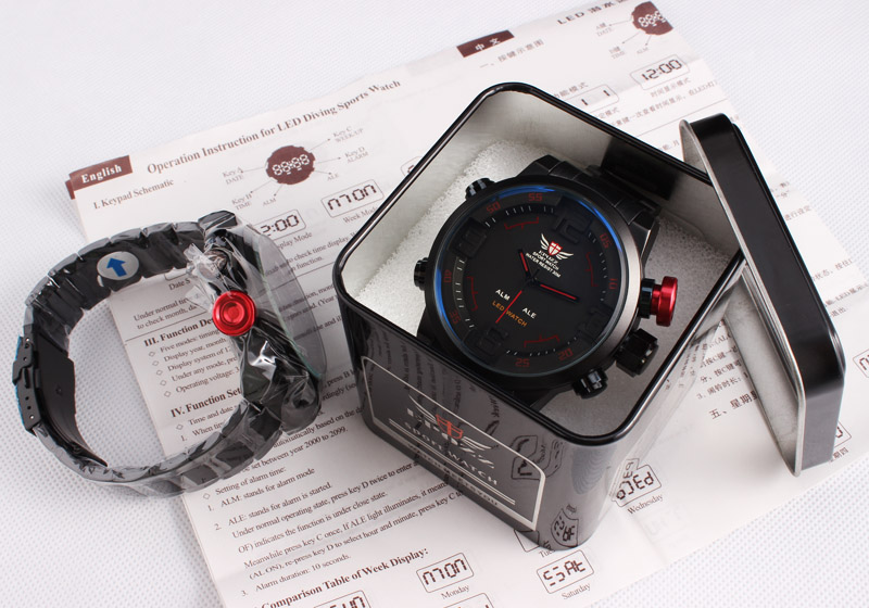 Hot vente hommes montre militaire LED numérique analogique sport montre - bracelet 3 atm résistant à l'eau en acier inoxydable montres
