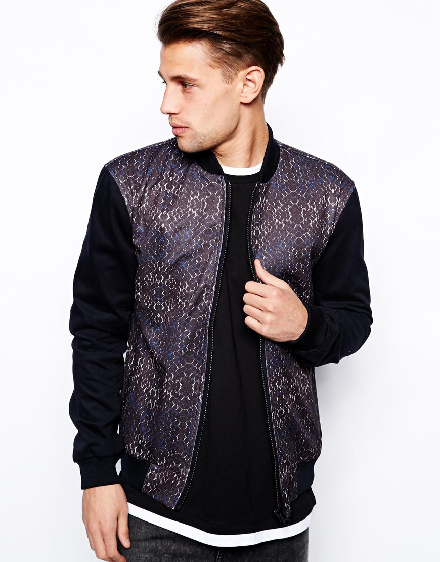 front and back print bomber jacket zip clothing