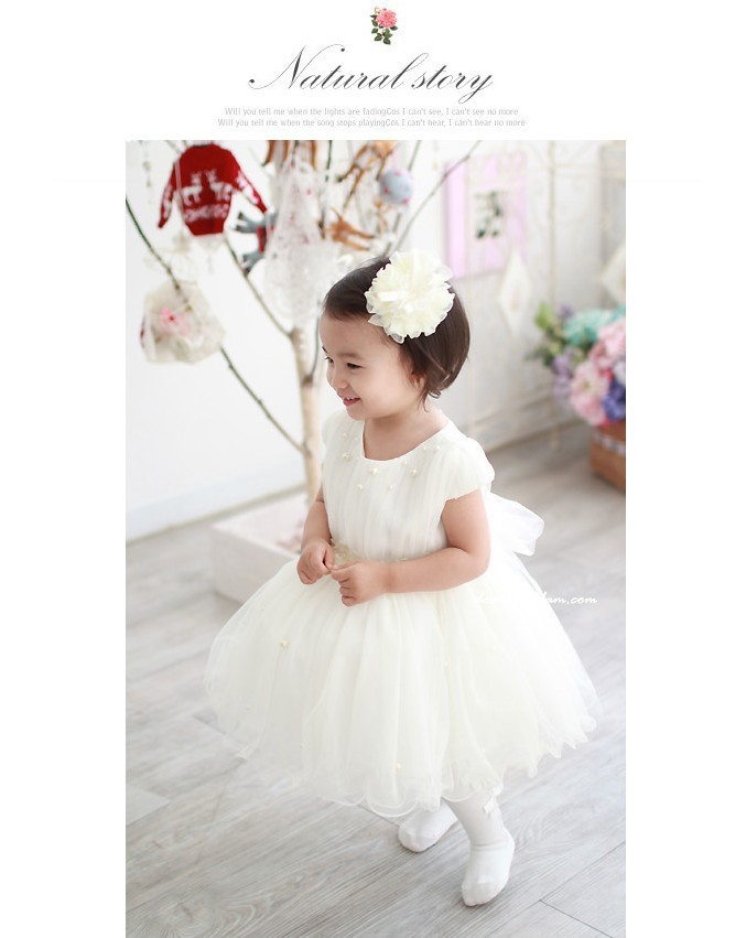 4шт/много! девушка белым бисером лук пояса с короткими рукавами Цветочница платье для свадьбы платье
