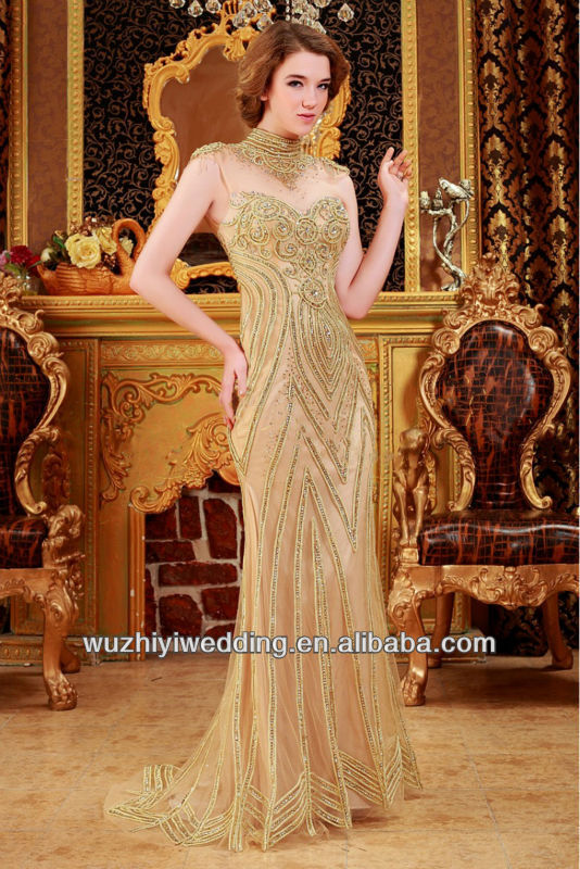 Luxury Sexy Elegant Expensive Modest High Neck Gold