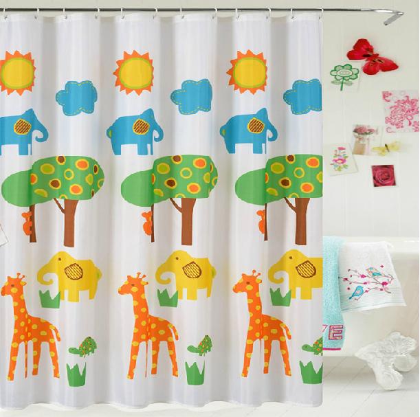 1 x милый мультфильм жираф Душ занавес высокое качество водонепроницаемая Ванна занавес для детей