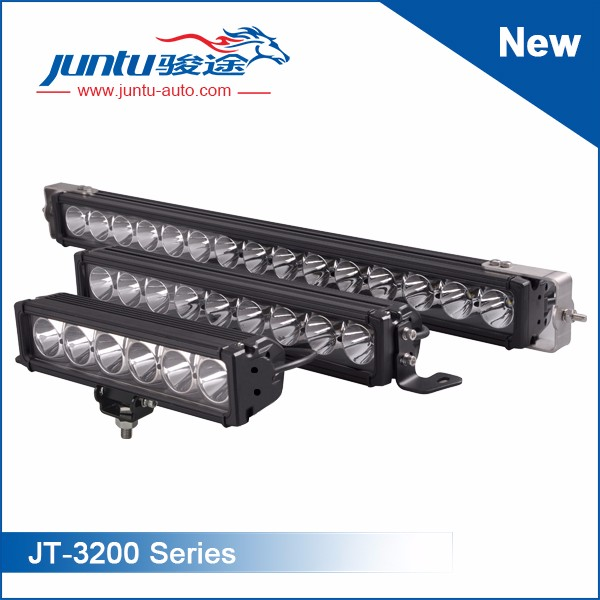 Straight Led Light BarsSeries No.:JT-3200LED Chip: 10W CREELength: 4inch~52inchPower: 30W~270WBeam: Spot/Flood/ComboWorking Voltage: 9-32VIP Rating: IP67Housing: Die-cast AluminumMounting: Stainless SteelLife-span: 30,000 Hours