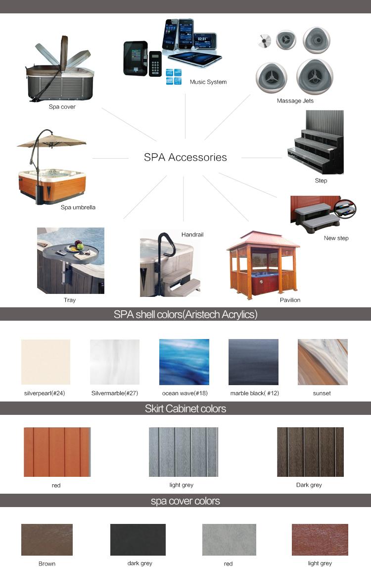 Latest design music system rectangular freestanding acrylic 6 person massage and spa indoor whirlpool underground hot tub