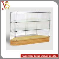 China New Design Popular OEM wooden shop furniture Backlight effect glass display show case