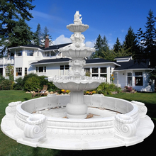 White Marble 3 Tier Garden Water Fountain with Fish