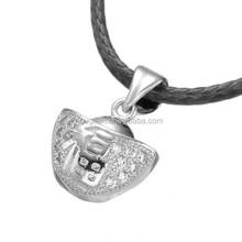 2016 new design leather chain zircon women fashion silver pendant necklace