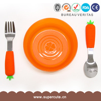 Home and office decoration 6 color silicone vegetable design kids use fork and spoon gift set