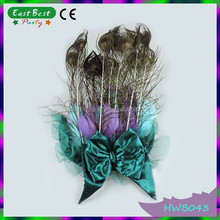 Peacock Feather Head Piece Tail Blue Bow Vintage Fascinator Fancy Dress