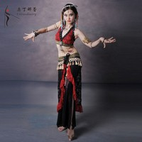 SJ00733 lace bra+belt professional tribal bellydance costumes