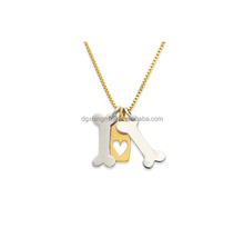Dogs Two Bone Tag Pendant In Pet Stainless Steel Necklace