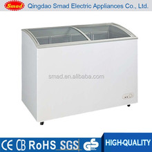 100L-600L commercial curved glass door commercial showcase display freezer
