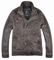 2015 new model designer leather jacket with fur collar
