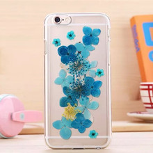 Beautiful real flower design mobile phone cases for iphone 6 Dry pressed flower cover case natural real flower cell phone case