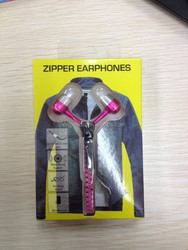 Shenzhen free sample zipper earphone with mic used mobile phones
