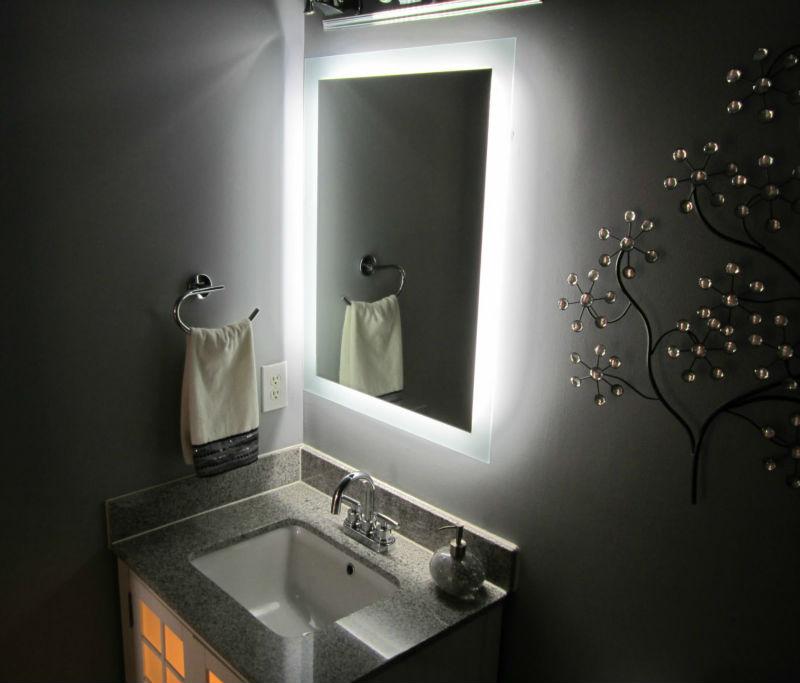 Framed bathroom vanity mirrors - Top Qualit 233 Encadr 233 E Miroir Lumineux Salle De Bain 16 Ans Offre