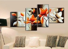 The Magnolia Gold Color 100% Handmade Modern Abstract Oil Painting Canvas Wall Art Gift ,Top Home Decoration