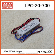 Meanwell 20watt 700mA waterproof IP67 led driver for led strips LPC-20-700