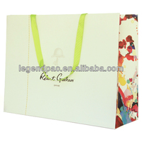 customized fashion hot sale kraft paper shopping bag with ribbon handle